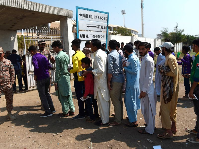 Fans had to rush to get into the ground as the action got under way in Karachi