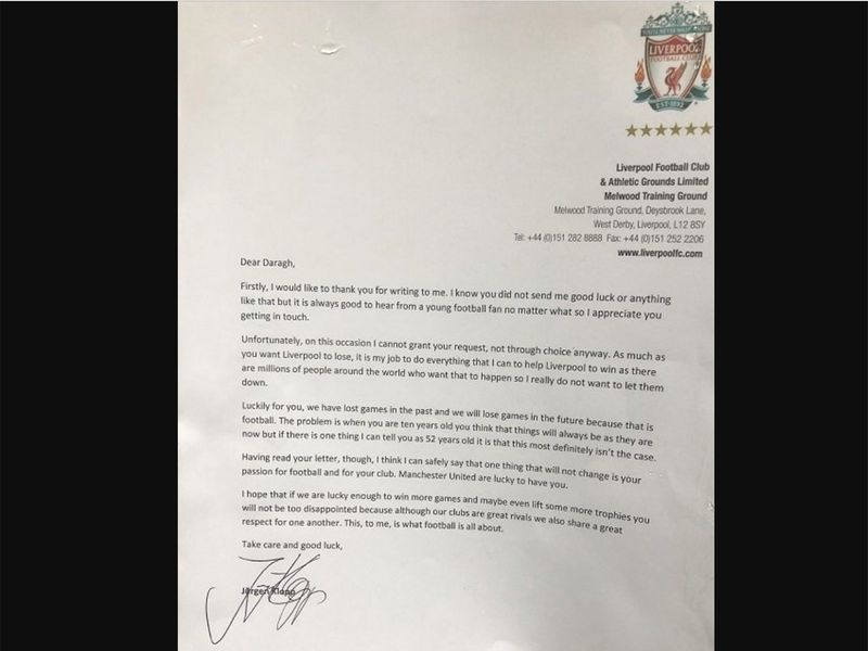 Look: Jurgen Klopp's Reply To 'cheeky' 10-year-old's