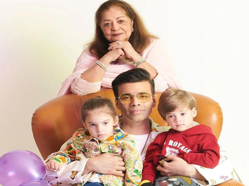 Karan Johar with mother Hiroo Johar and twins, Roohi and Yash
