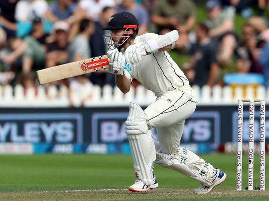 New Zealand, Feb 22 (ANI): New Zealand skipper Kane Williamson in action during the second day of the first test match between India and New Zealand at Basin Reserve, in Wellington on Saturday. (ANI Photo)