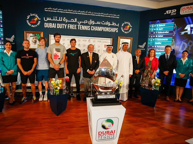Officials and players at Saturday's draw in Dubai