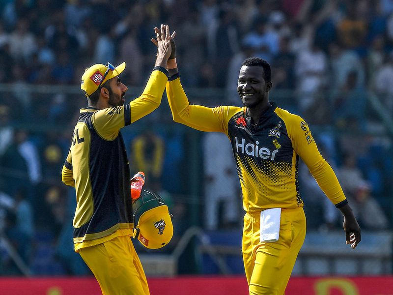 Peshawar looked to be on easy street as they cruised to 85 runs in seven overs for the loss of one wicket in the shape of Tom Banton (3). Kamran Akmal was doing most of the damage with the bat.