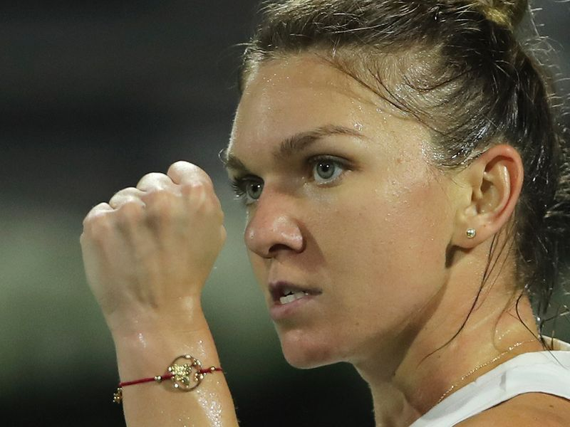 Simona Halep celebrates her win over Jennifer Brady in the Dubai Duty Free Championships semi-finals