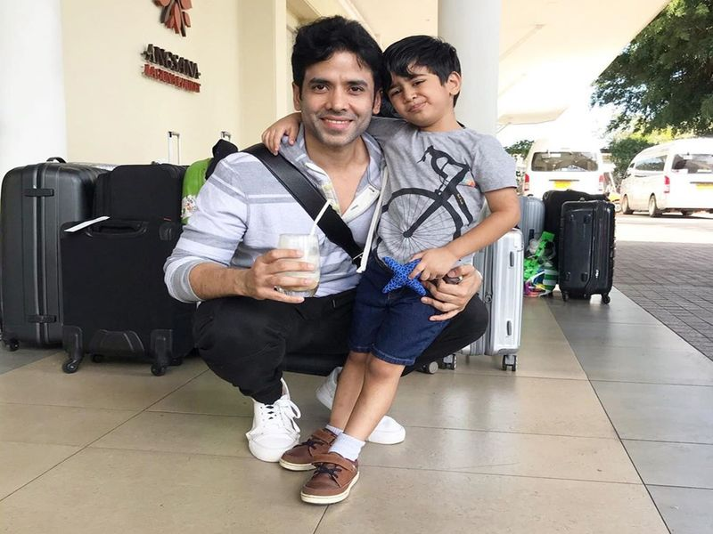 Tusshar Kapoor with son Laksshya