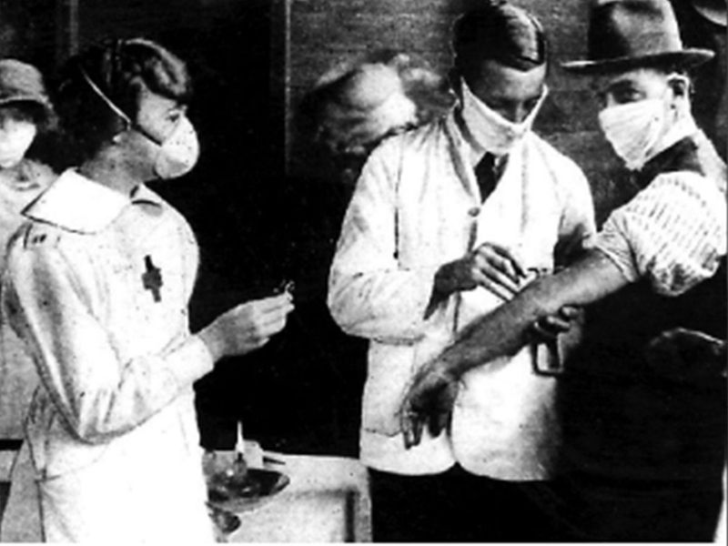 Doctor checks influenza