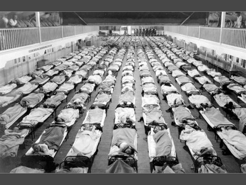 Spanish Flu beds lined up