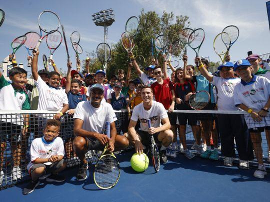 2020 Australian Open Doubles winners Joe Salisbury and Rajeev Ram joined the children in the clinic-1582548583621