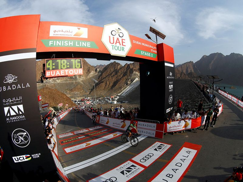 Caleb Ewan wins Stage 2, the Dubai Municipality Stage, of the second edition of the UAE Tour, ahead of Sam Bennett and Arnaud Démare