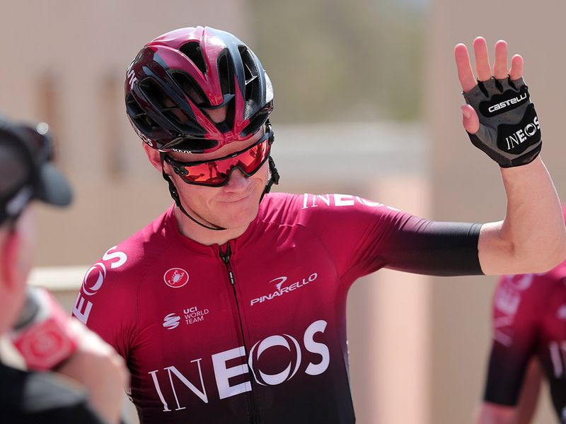 Chris Froome gives a wave before the start of Stage 2 to Hatta Dam