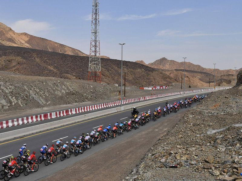 Cyclists on the road during UAE Tour Stage 2