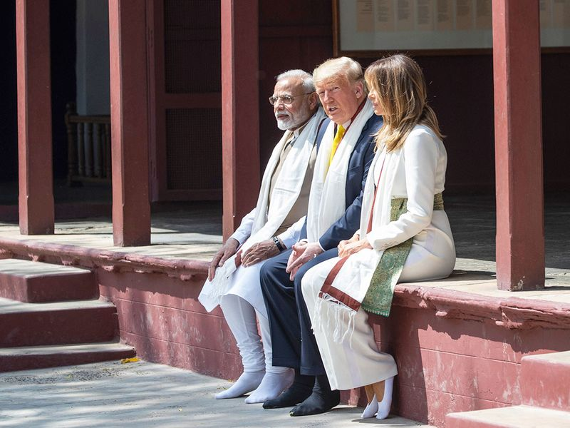 Donald Trump, with first lady Melania Trump, and Narendra Modi, tour Gandhi Ashram, in Ahmedabad.