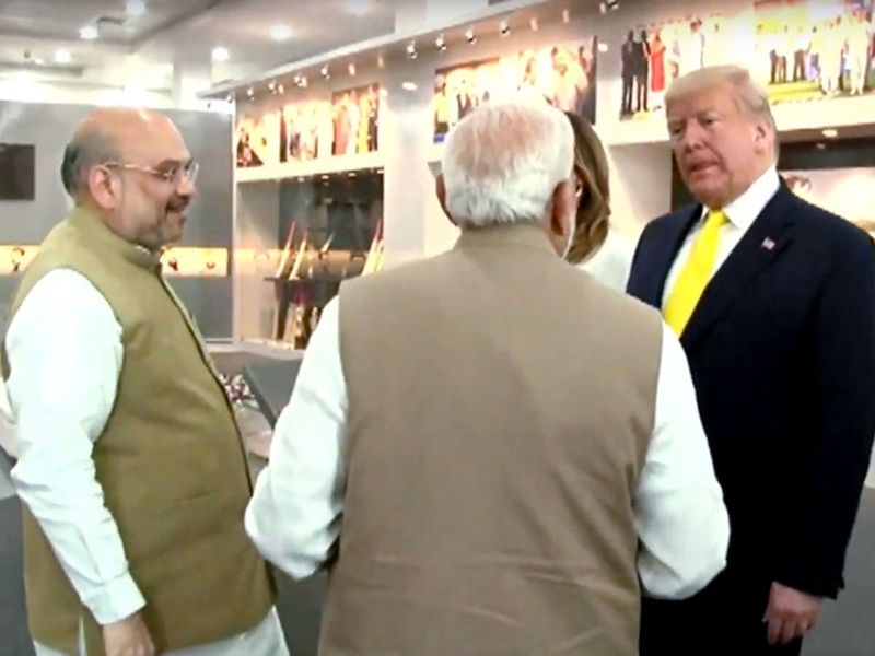 Donald Trump with Melania Trump, Narendra Modi and Amit Shah at Motera Stadium in Ahmedabad.