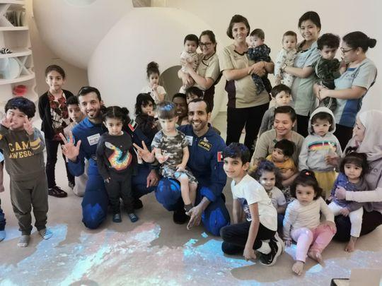 Emirati astronauts Hazzaa AlMansoori and Sultan Al Neyadi visit children at Nursery of the Future in Dubai