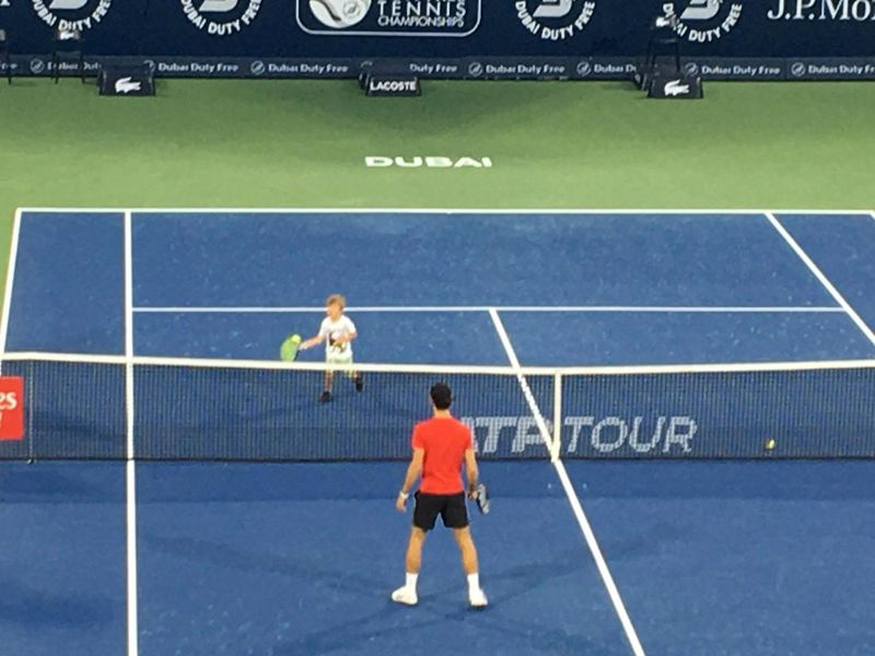 Novak Djokovic practises with his son in Dubai