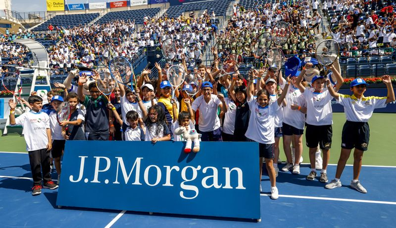 Over  1,300 school children from local schools in the UAE took to the courts at the Dubai Duty Free Tennis Stadium today for the ATP J.P. Morgan Kids' Day-1582548588165