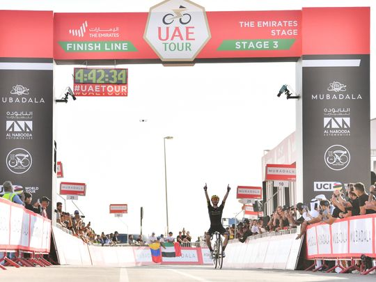 Adam Yates wins Stage 3 of the UAE Tour