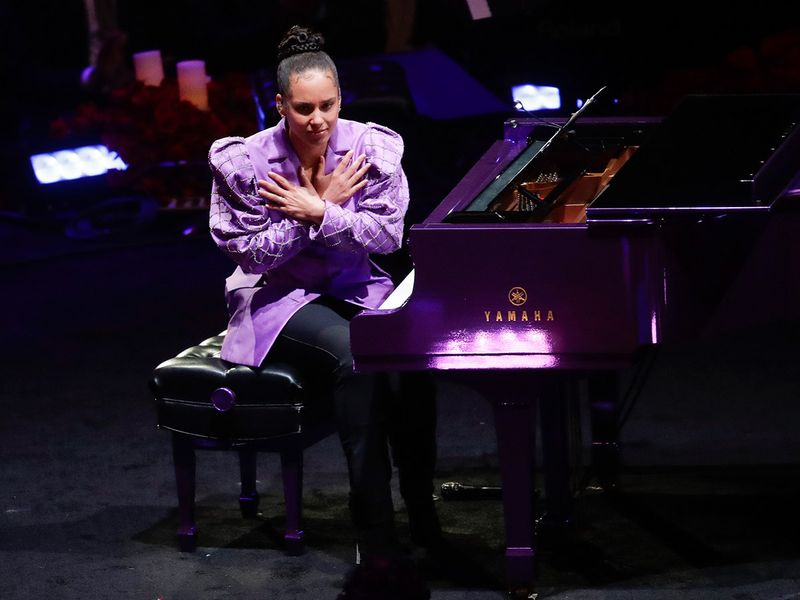 Alicia Keys at the Kobe Bryant memorial