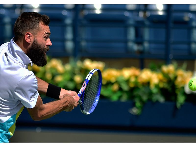 Benoit Paire in action against Marin Cilic at the Dubai Duty Free Tennis Championships on 25th February, 2020. Photo Clint Egbert/Gulf News