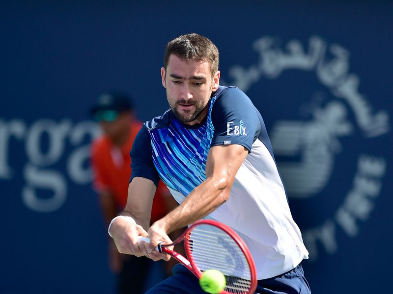 Marin Cilic in action against Benoit Paire at the Dubai Duty Free Tennis Championships on 25th February, 2020. Photo Clint Egbert/Gulf News