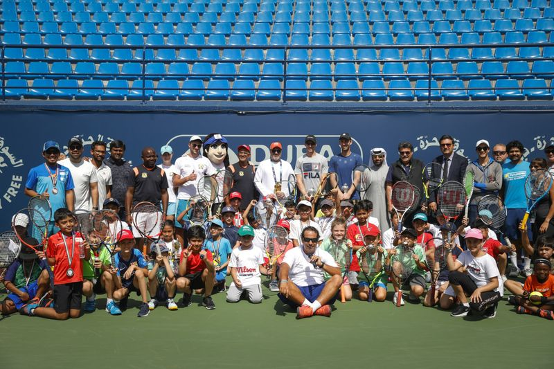 Over 50 children from affiliated tennis academies across the UAE took part in the ATP UAE Tennis Federation Coaching Clinic-1582635344243