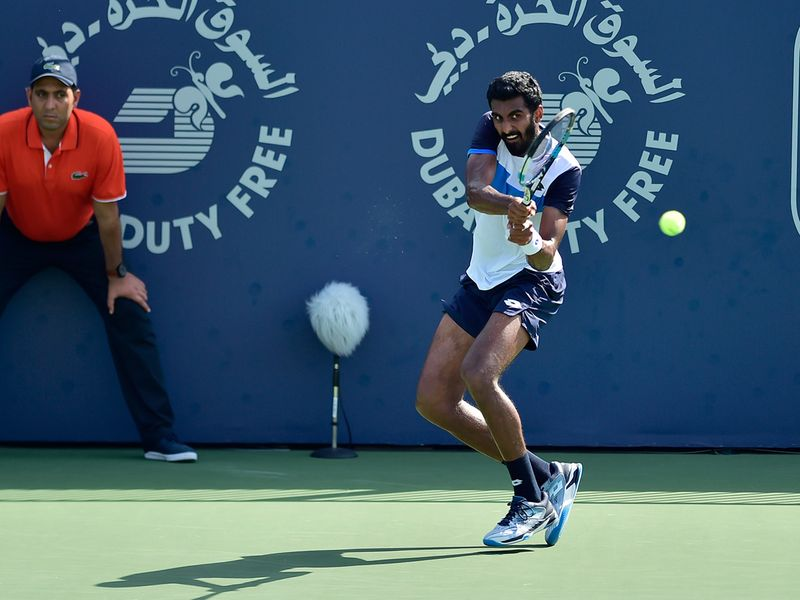 Prajnesh Gunneswaran in action against Dennis Novak at the Dubai Duty Free Tennis Championships on 25th February, 2020. Photo Clint Egbert/Gulf News