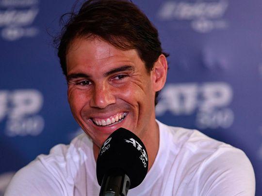 Rafa Nadal speaks to the media in Acapulco
