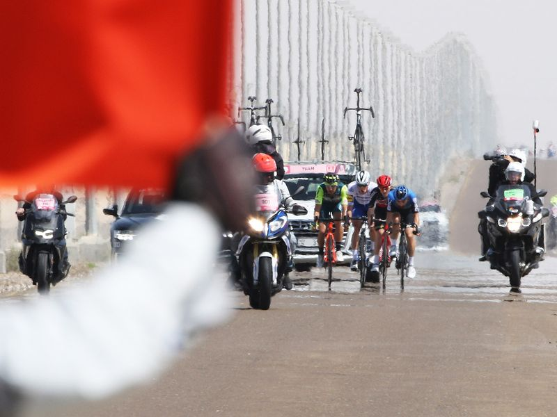 There was an early break away by four riders but they were soon back in the pack