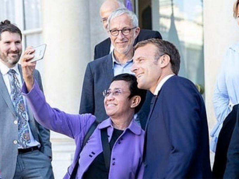 Maria Ressa with Macron