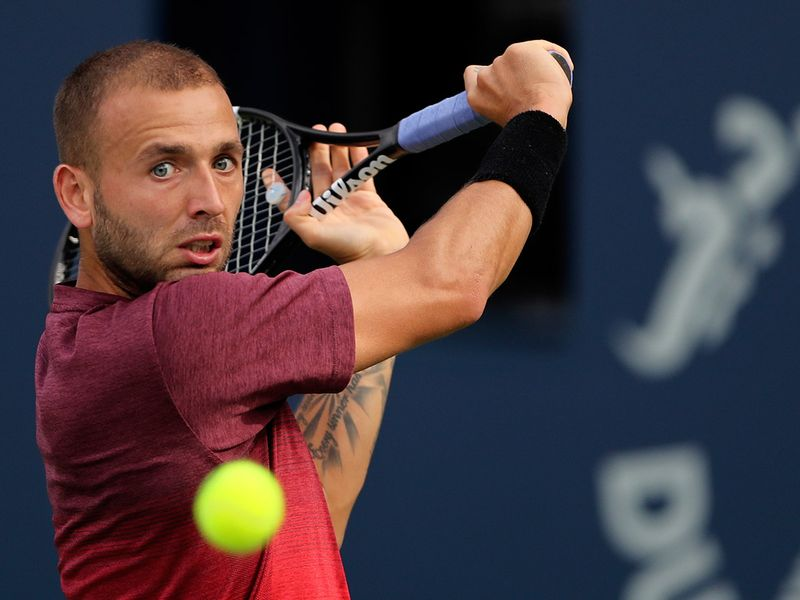 Dan Evans in action against Andrey Rublev