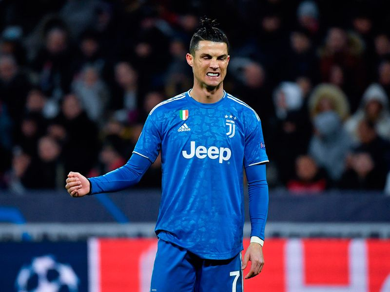 Juventus' Portuguese forward Cristiano Ronaldo reacts during the UEFA Champions League round of 16 first-leg football match between Lyon and Juventus at the Parc Olympique Lyonnais stadium in Decines-Charpieu, central-eastern France, on February 26, 2020. / AFP / Philippe DESMAZES