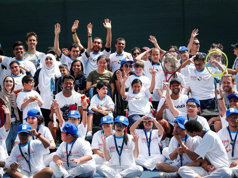 Leander Paes at Dubai Duty Free Tennis Championships Children of Determination clinic