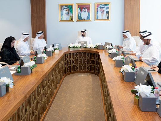 Sheikh Mansoor Bin Mohammad presided over the Dubai Sports Council Board meeting on Thursday.  Courtesy: DSC