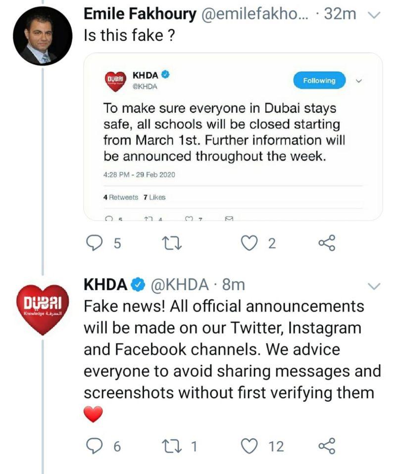 KHDA clarifies fake tweets
