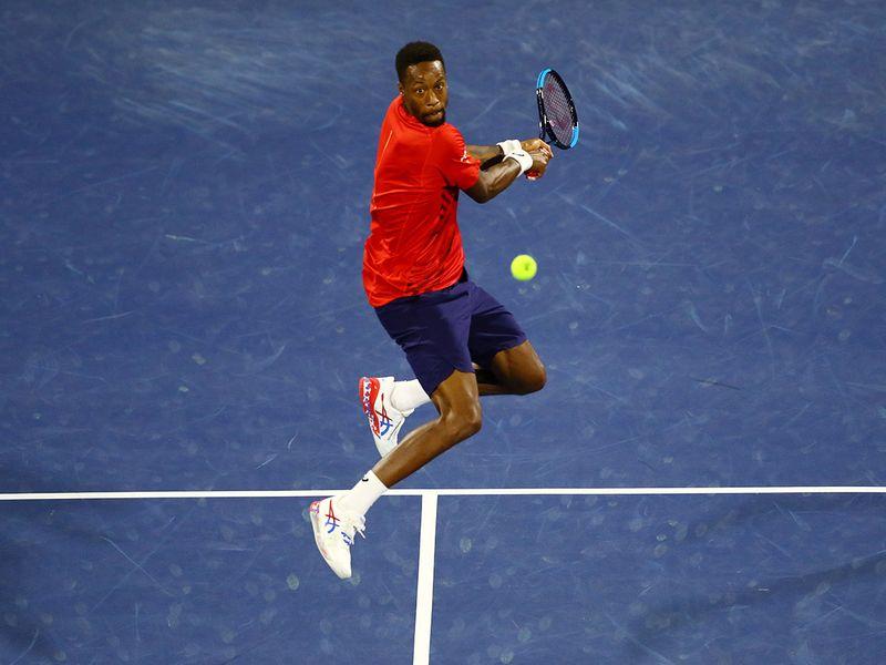 Novak Djokovic against Gael Monfils in Dubai