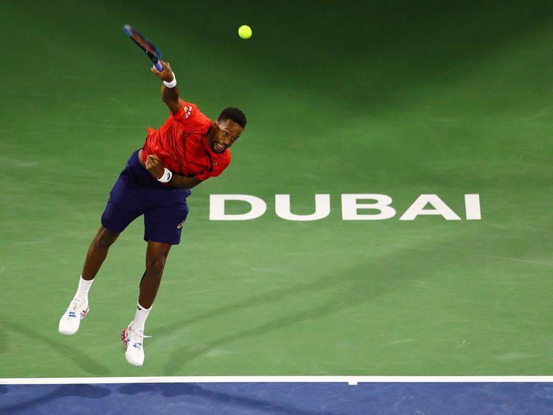 Novak Djokovic against Gael Monfils in Dubai