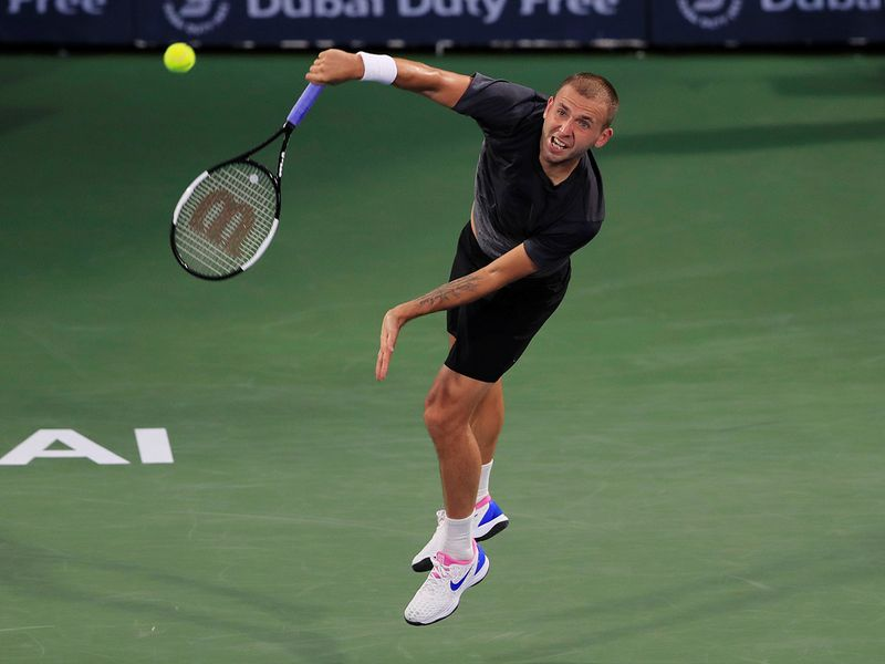 Stefanos Tsitsipas against Dan Evans in Dubai