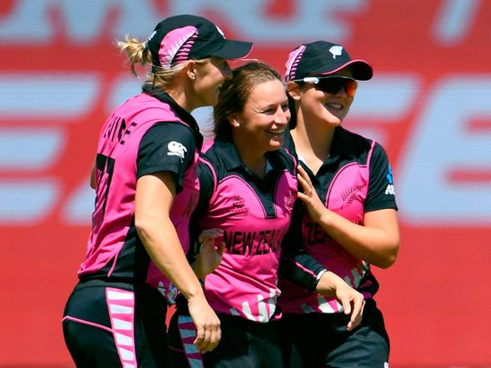 ew Zealand's Hayley Jensen (C) is congratulated by teammates after taking a Bangladesh wicket during their Twenty20 women's World Cup cricket match in Melbourne on February 29, 2020. -- IMAGE RESTRICTED TO EDITORIAL USE - STRICTLY NO COMMERCIAL USE --  / AFP / WILLIAM WEST / -- IMAGE RESTRICTED TO EDITORIAL USE - STRICTLY NO COMMERCIAL USE --