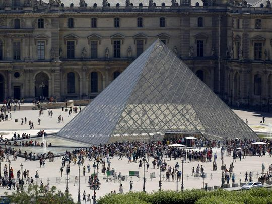 People line up at the Louvre Museum March 1 2020 Sunday