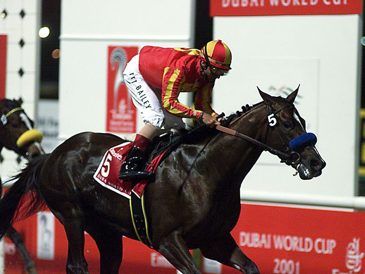 2001: Bailey completed his hat-trick of Dubai World Cups onboard Captain Steve for Michael E Pegram