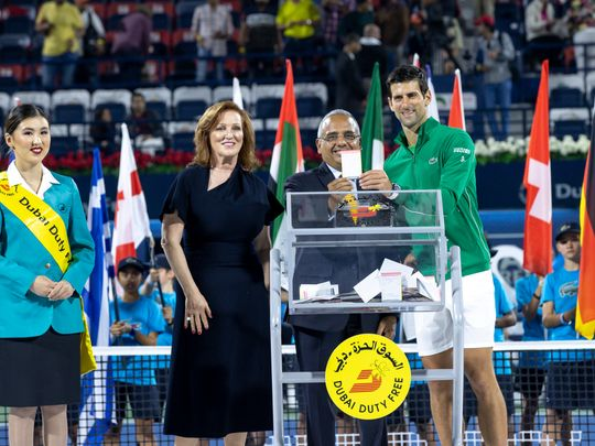 Novak Djokovic with the winning ticket