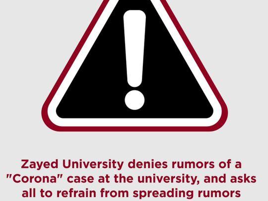 Zayed University deny a coronavirus case on campus