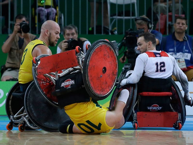 A mixed wheelchair rugby final match at the Paralympic Games in Rio de Janeiro, Brazil, 2016