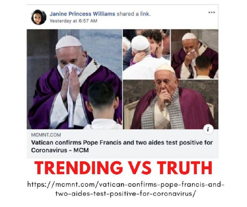 Fake news Pope coronavirus