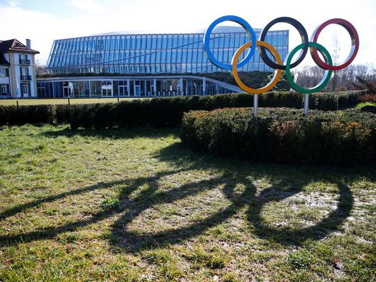 The rings are pictured in front of the International Olympic Committee (IOC) during Executive Board meeting in Lausanne, Switzerland, March 3, 2020.  REUTERS/Denis Balibouse