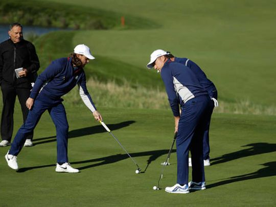 Tommy Fleetwood and Ian Poulter at the Ryder Cup
