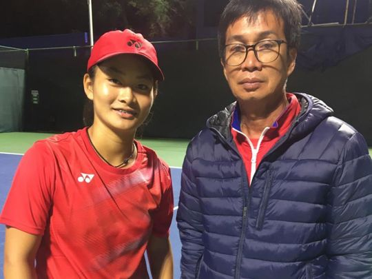 16-year-old Priska Madelyn Nugroho with Indonesian Fed Cup coach Deddy Tedjamukti, who nearly two decades ago oversaw the career of Angelique Widaja