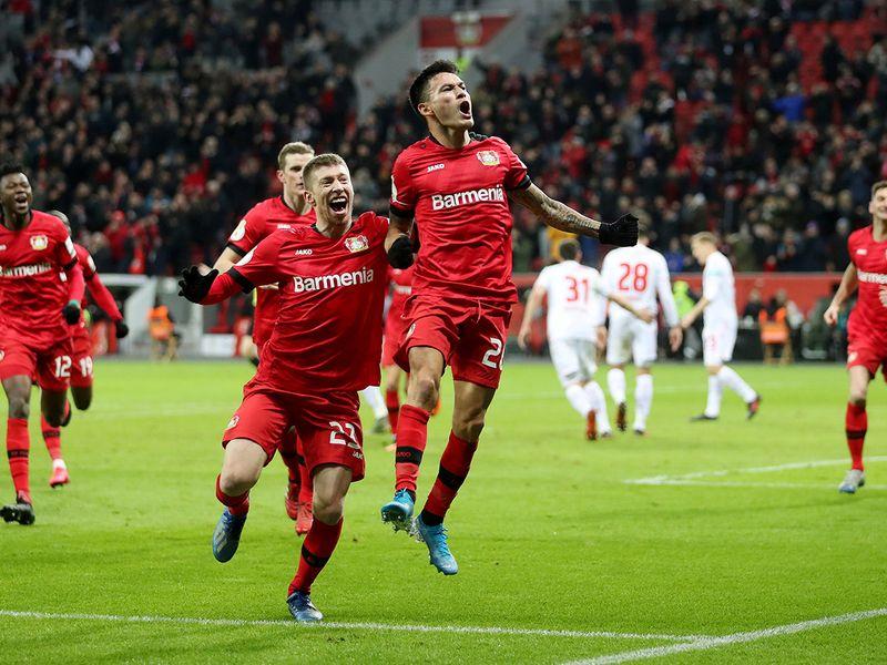 Bayer Leverkusen's Charles Aranguiz celebrates scoring their second goal against Union Berlin