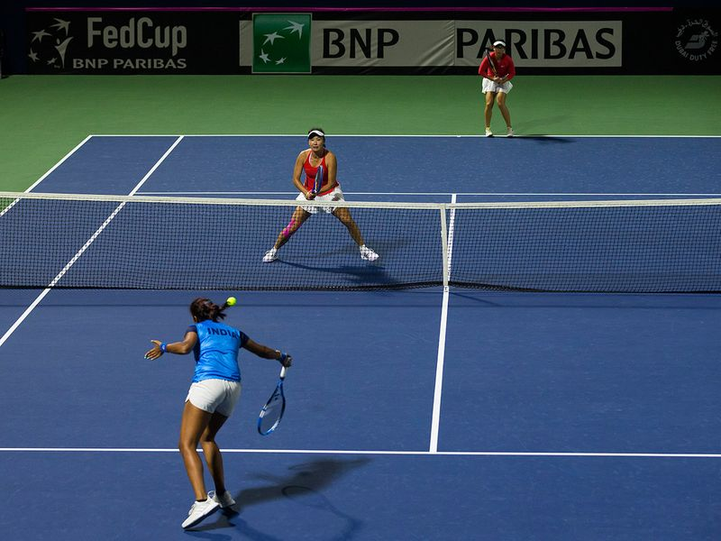 China in action against India at the Fed Cup in Dubai