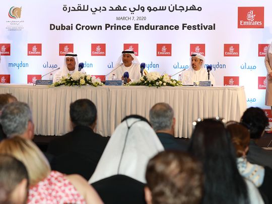 Dr Ghanim Al Hajri Sec General EEF, Mohammed Essa, GM DEC, and Adil Al Ghaith SVP Commercial, Emirates Airline, at the Dubai Crown Prince Endurance Cup launch