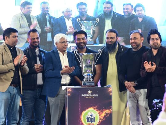 Launch of the 10PL tennis ball cricket tournament trophy for the third edition in the presence of Emirates Cricket Board and Sharjah Cricket Council officials and sponsors of the event at the Sharjah Cricket Stadium. Picture: Organisers